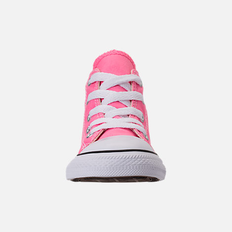 Front view of Girls' Toddler Converse Chuck Taylor High Top Casual Shoes in Pink/White