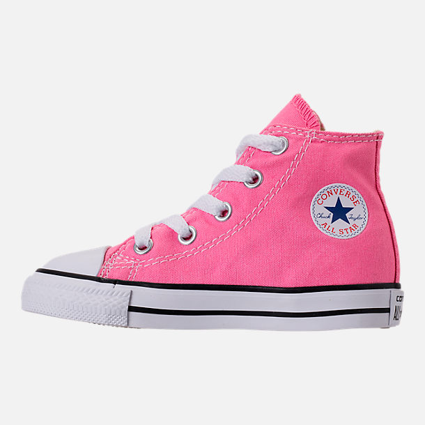 Left view of Girls' Toddler Converse Chuck Taylor High Top Casual Shoes in Pink/White