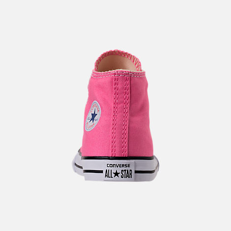 Back view of Girls' Toddler Converse Chuck Taylor High Top Casual Shoes in Pink/White