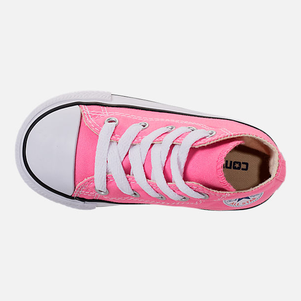 Top view of Girls' Toddler Converse Chuck Taylor High Top Casual Shoes in Pink/White