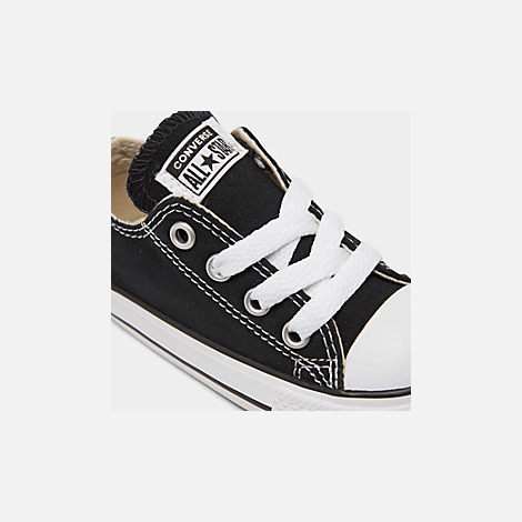 Front view of Kids' Toddler Converse Chuck Taylor Ox Casual Shoes in Black