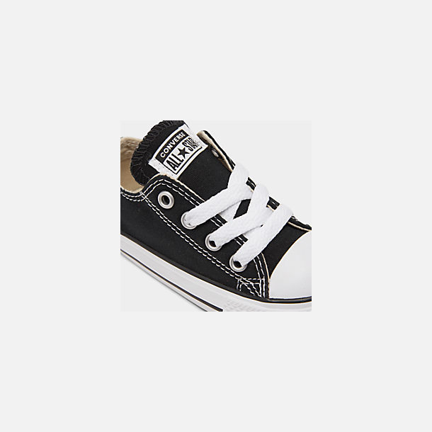 Front view of Kids' Toddler Converse Chuck Taylor Low Top Casual Shoes in Black