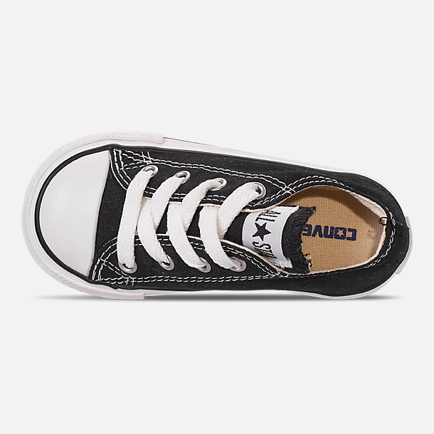 Top view of Kids' Toddler Converse Chuck Taylor Low Top Casual Shoes in Black