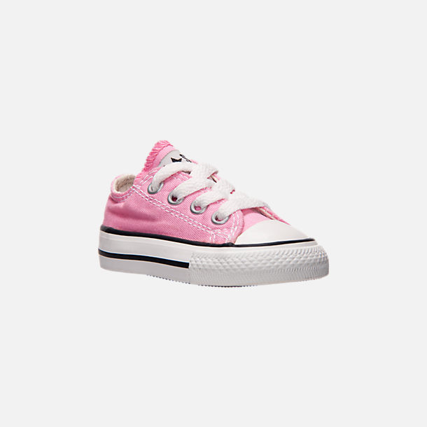 Three Quarter view of Girls' Toddler Converse Chuck Taylor Low Top Casual Shoes in Pink