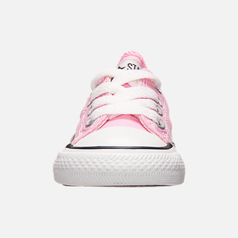 Front view of Girls' Toddler Converse Chuck Taylor Ox Casual Shoes in Pink