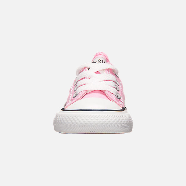 Front view of Girls' Toddler Converse Chuck Taylor Low Top Casual Shoes in Pink