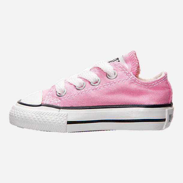 Left view of Girls' Toddler Converse Chuck Taylor Ox Casual Shoes in Pink