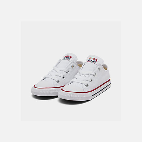 Three Quarter view of Kids' Toddler Converse Chuck Taylor Low Top Casual Shoes in White