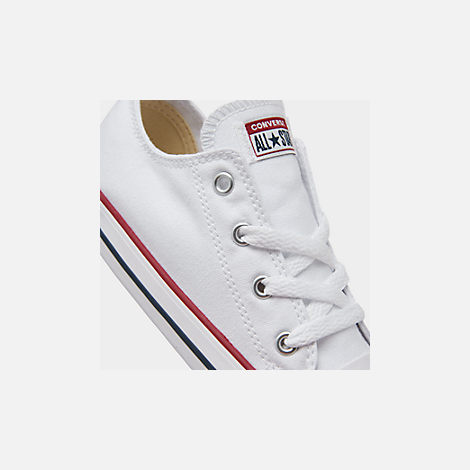 Front view of Kids' Toddler Converse Chuck Taylor Low Top Casual Shoes in White