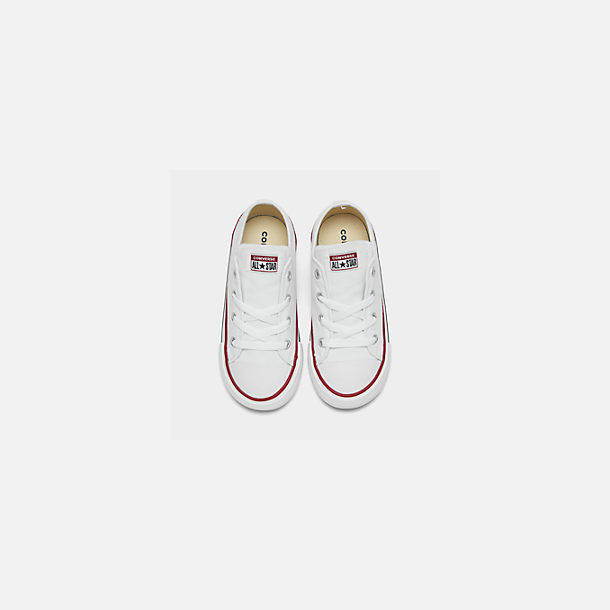 Back view of Kids' Toddler Converse Chuck Taylor Low Top Casual Shoes in White