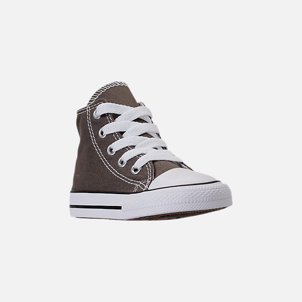 Three Quarter view of Kids' Toddler Converse Chuck Taylor Hi Casual Shoes in Charcoal