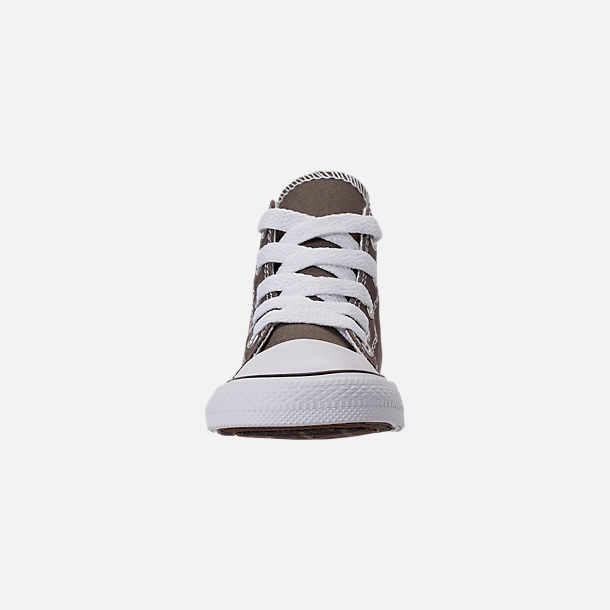 Front view of Kids' Toddler Converse Chuck Taylor Hi Casual Shoes in Charcoal