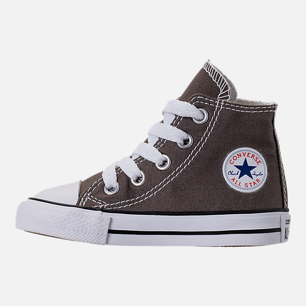 Left view of Kids' Toddler Converse Chuck Taylor Hi Casual Shoes in Charcoal