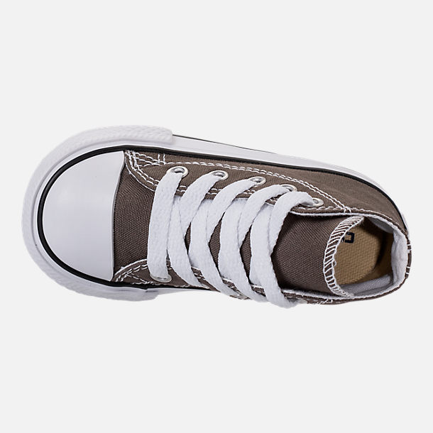 Top view of Kids' Toddler Converse Chuck Taylor Hi Casual Shoes in Charcoal