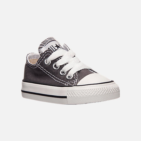 Three Quarter view of Boys' Toddler Converse Chuck Taylor Ox Casual Shoes in Grey/White