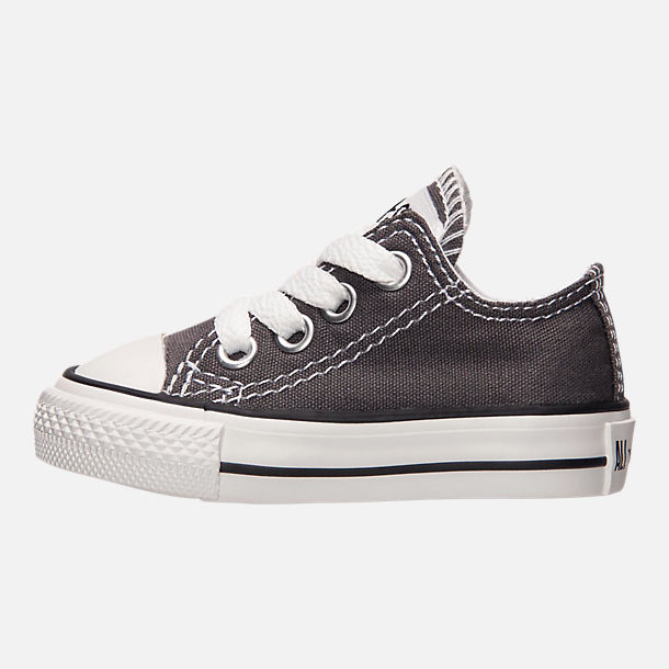 Left view of Boys' Toddler Converse Chuck Taylor Ox Casual Shoes in Grey/White