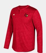 Men's adidas Louisville Cardinals College Long-Sleeve Henley Shirt