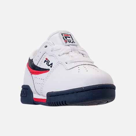 Three Quarter view of Boys' Toddler Fila Original Fitness Casual Shoes in White/Navy/Red