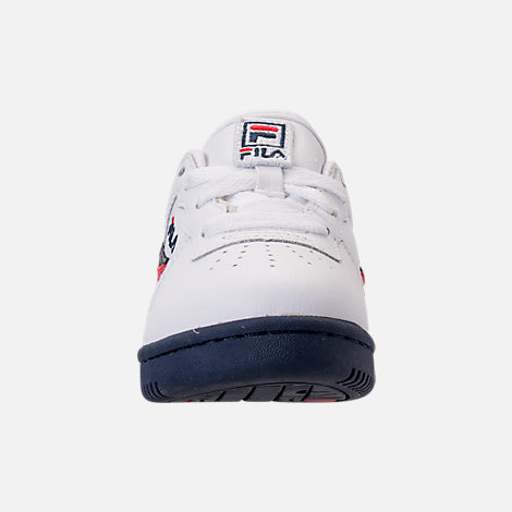 Front view of Boys' Toddler Fila Original Fitness Casual Shoes in White/Navy/Red