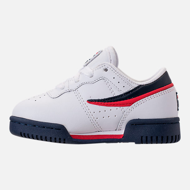 Left view of Boys' Toddler Fila Original Fitness Casual Shoes in White/Navy/Red