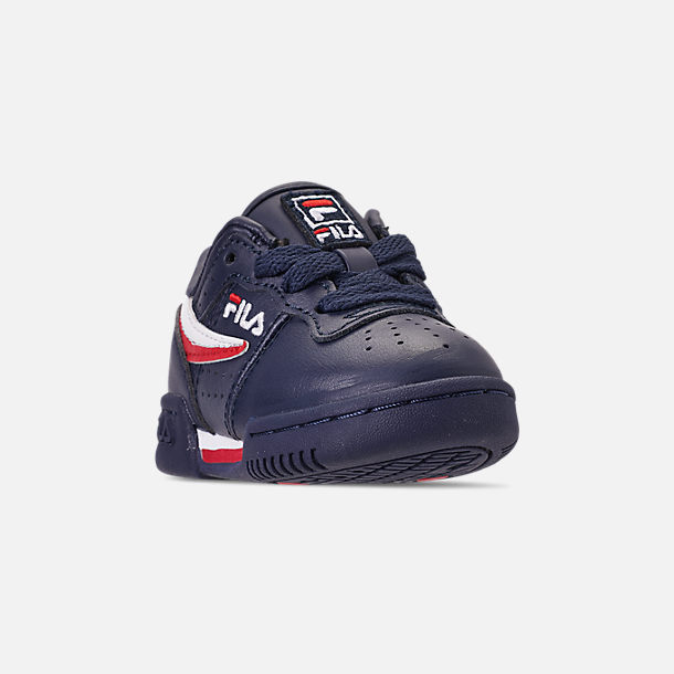 Three Quarter view of Boys' Toddler Fila Original Fitness Casual Shoes in Navy/White/Red