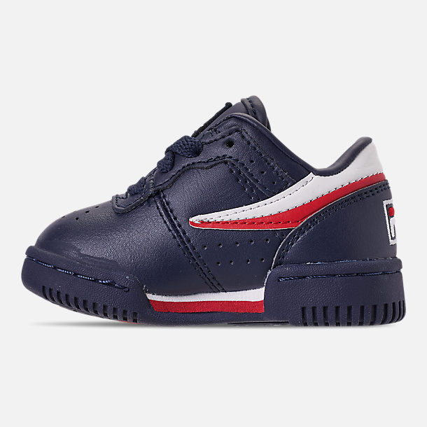 Left view of Boys' Toddler Fila Original Fitness Casual Shoes in Navy/White/Red