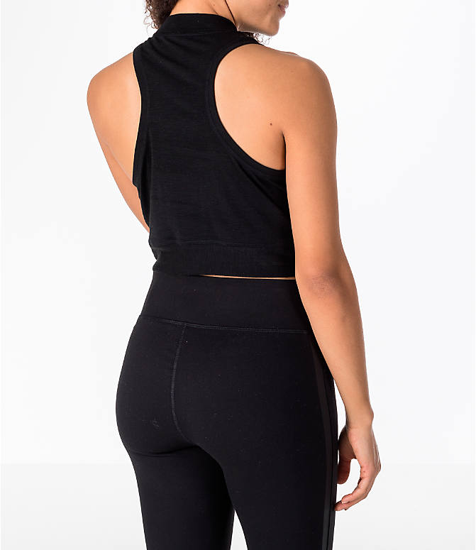 Back Right view of Women's Activ8 Mock Crop Tank in Black