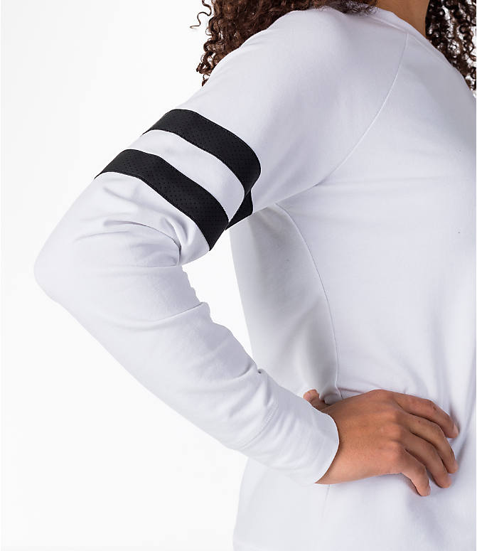 Detail 2 view of Women's Activ8 Varsity Crew Sweatshirt in White/Black