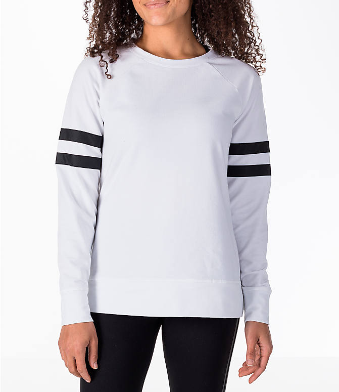 Front view of Women's Activ8 Varsity Crew Sweatshirt in White/Black