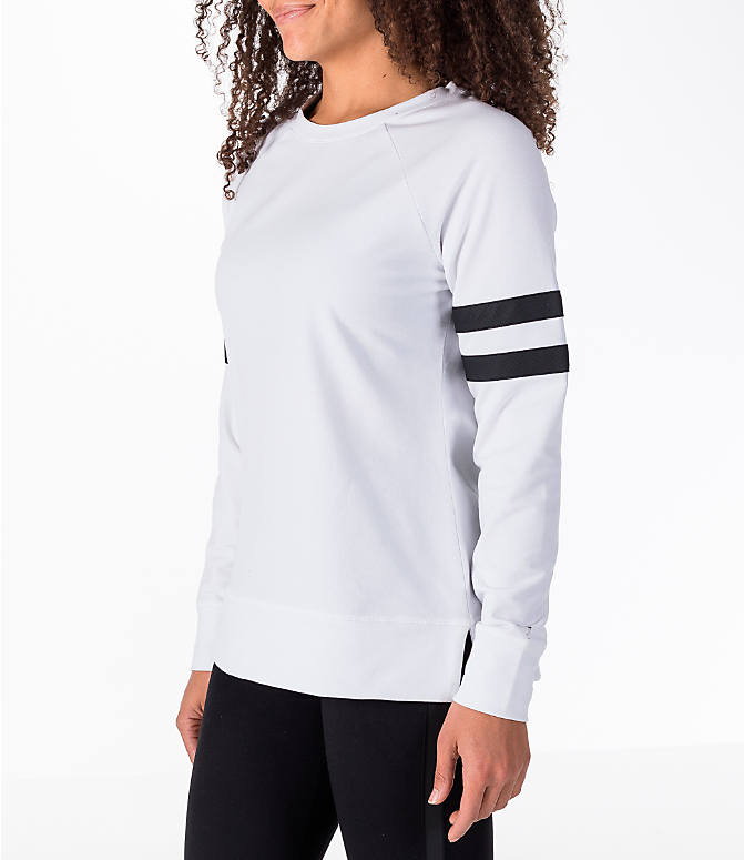 Front Three Quarter view of Women's Activ8 Varsity Crew Sweatshirt in White/Black