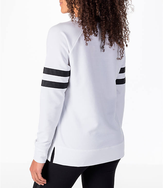 Back Left view of Women's Activ8 Varsity Crew Sweatshirt in White/Black