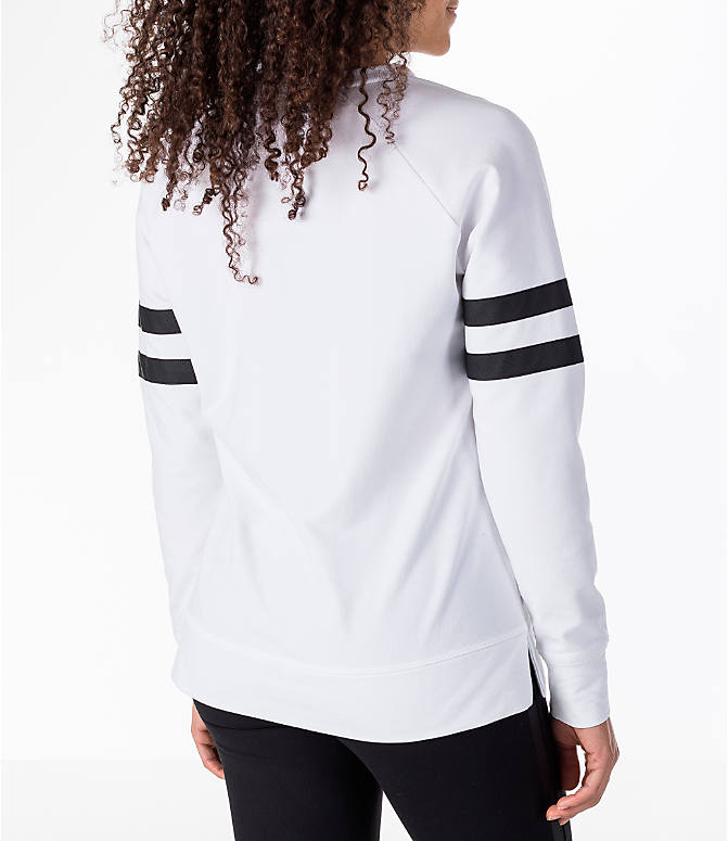 Back Right view of Women's Activ8 Varsity Crew Sweatshirt in White/Black