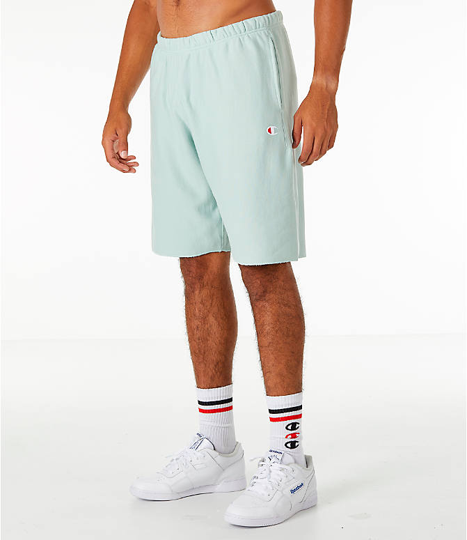 Front Three Quarter view of Men's Champion Reverse Weave French Terry Shorts in Mint