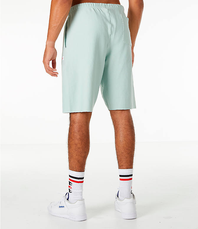 Back Left view of Men's Champion Reverse Weave French Terry Shorts in Mint