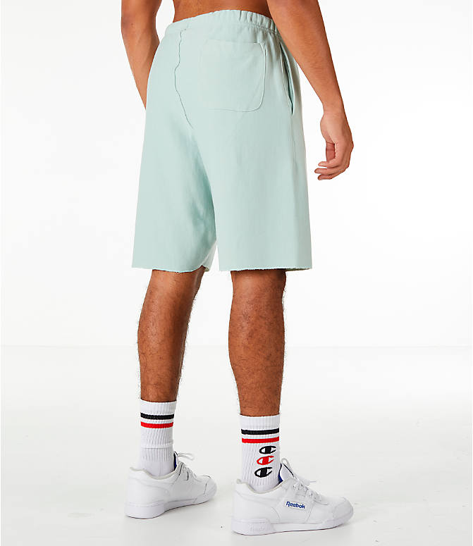 Back Right view of Men's Champion Reverse Weave French Terry Shorts in Mint