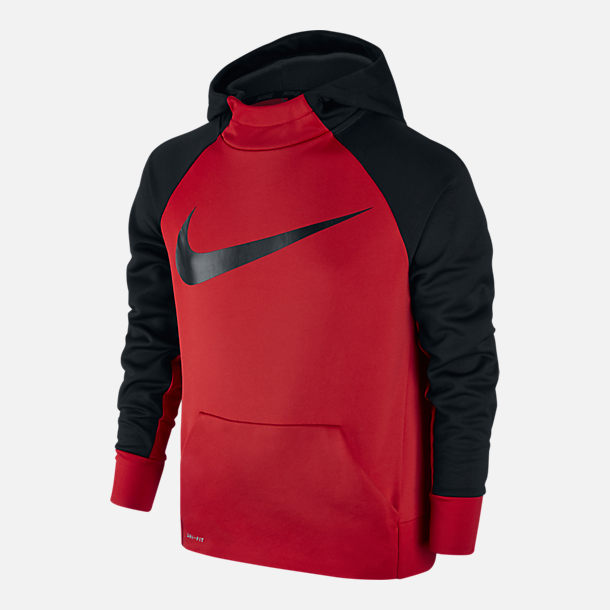 Front view of Boys' Nike Therma Training Hoodie in University Red/Black