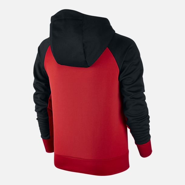 Back view of Boys' Nike Therma Training Hoodie in University Red/Black