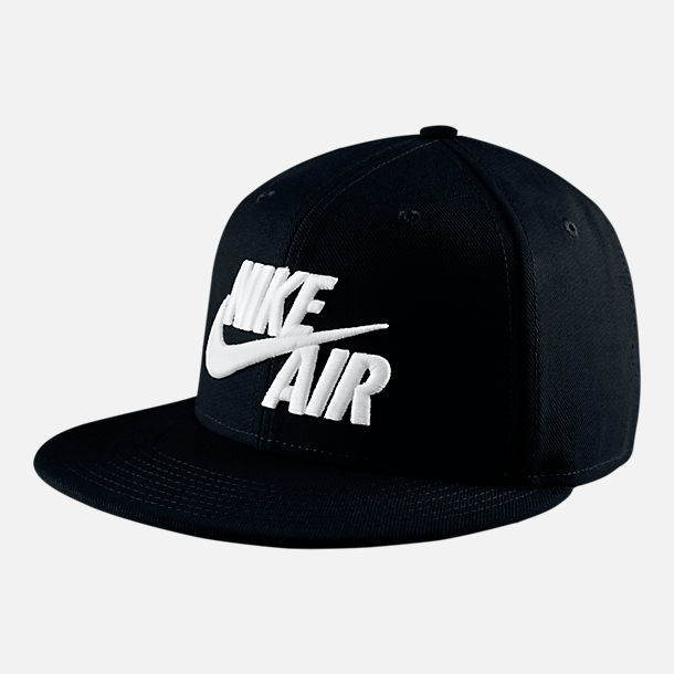 Front view of Nike Sportswear Air True Snapback Hat in Black/White