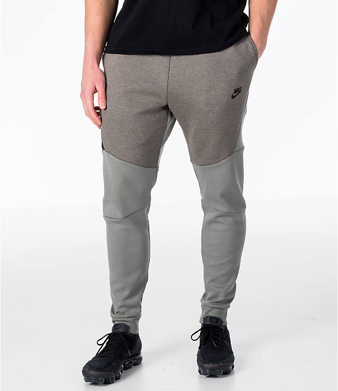 Front view of Men's Nike Tech Fleece Jogger Pants in Stucco/Black