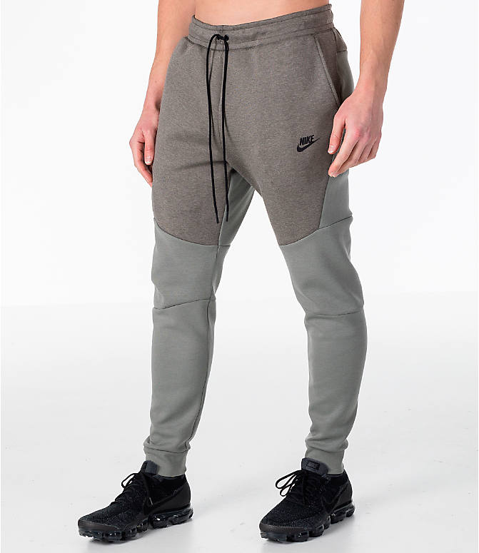 Front Three Quarter view of Men's Nike Tech Fleece Jogger Pants in Stucco/Black
