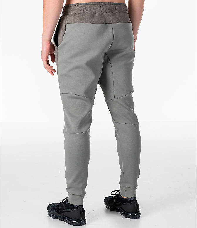 Back Left view of Men's Nike Tech Fleece Jogger Pants in Stucco/Black
