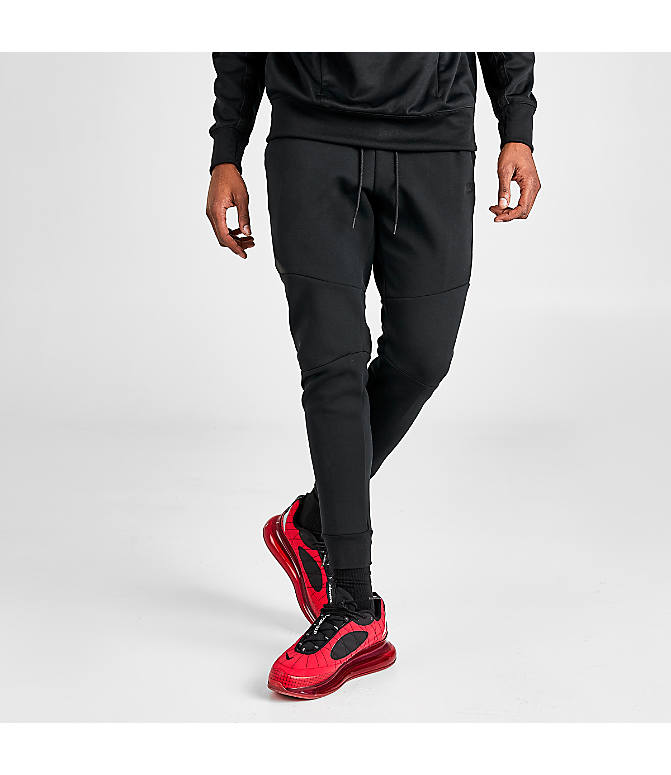 Front Three Quarter view of Men's Nike Tech Fleece Jogger Pants in Black