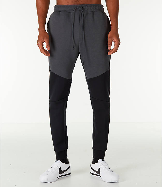 Front Three Quarter view of Men's Nike Tech Fleece Jogger Pants in Black/Anthracite