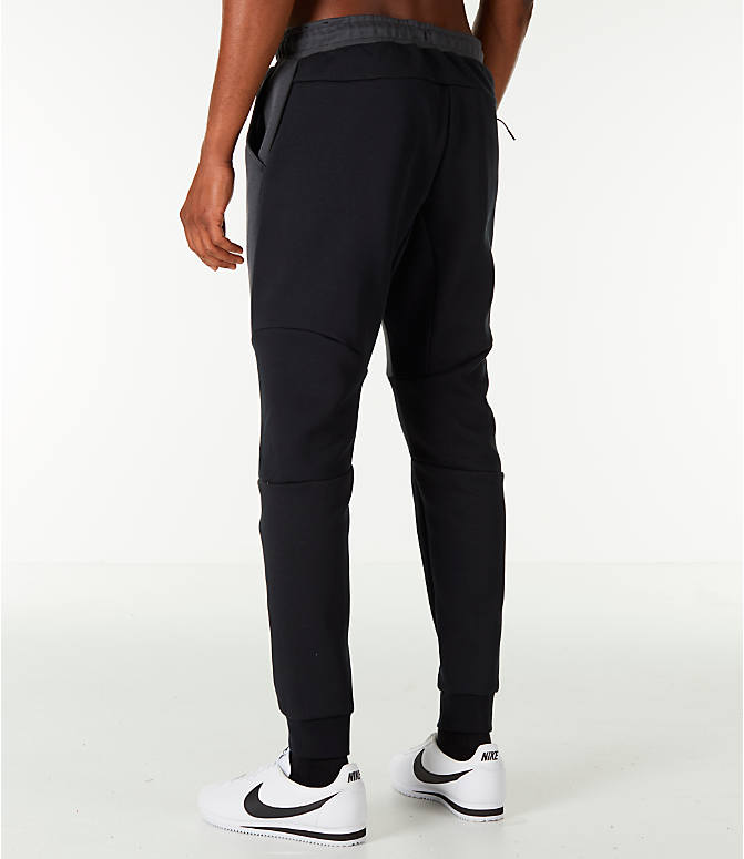Back Left view of Men's Nike Tech Fleece Jogger Pants in Black/Anthracite