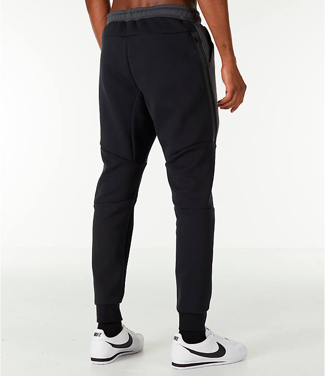 Back Right view of Men's Nike Tech Fleece Jogger Pants in Black/Anthracite