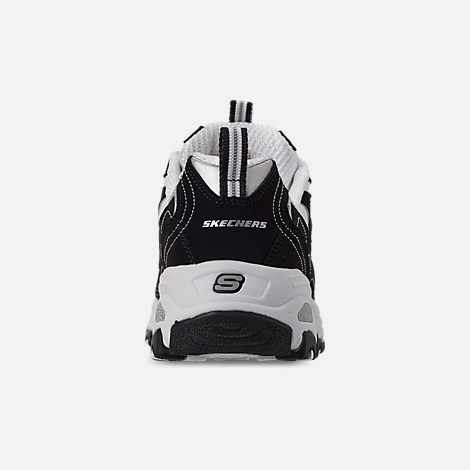 Back view of Girls' Big Kids' Skechers D'Lites - Biggest Fan Casual Shoes in Black/White