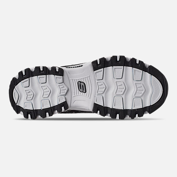 Bottom view of Girls' Big Kids' Skechers D'Lites - Biggest Fan Casual Shoes in Black/White