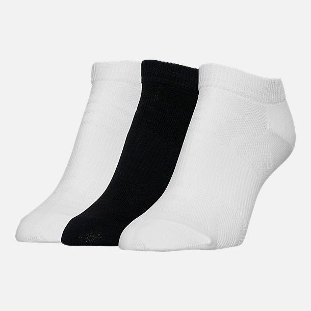 Front view of Women's Finish Line No-Show Socks 3-Pack in Black/White