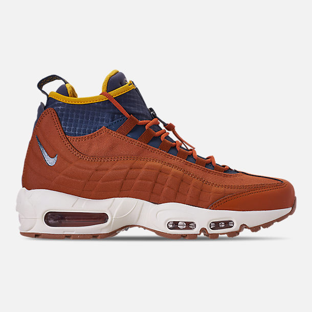 Right view of Men's Nike Air Max 95 Sneakerboots in Dark Russet/Thunder Blue/Light Bone/Yellow