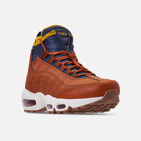 Three Quarter view of Men's Nike Air Max 95 Sneakerboots in Dark Russet/Thunder Blue/Light Bone/Yellow